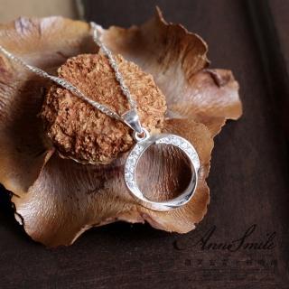 【微笑安安】晶鑽圓環925純銀項鍊  微笑安安