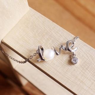 【微笑安安】LOVE珍珠垂墜小鑽925純銀精鍍白K項鍊  微笑安安