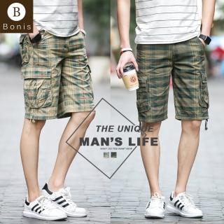 【Boni's】純棉格紋多口袋工裝短褲 M-2XL(黃綠 / 軍綠)推薦折扣  Boni's