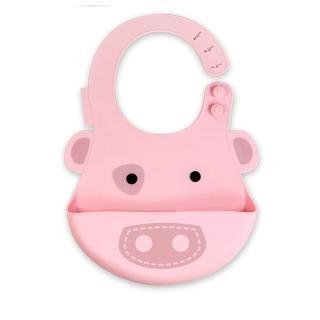 【MARCUS&MARCUS】動物樂園矽膠立體圍兜-粉紅豬  MARCUS&MARCUS