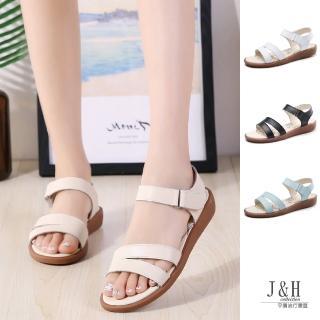【J&H collection】甜美百搭平跟平底休閒涼鞋(白色 / 黑色 / 藍色 / 米色)  J&H collection