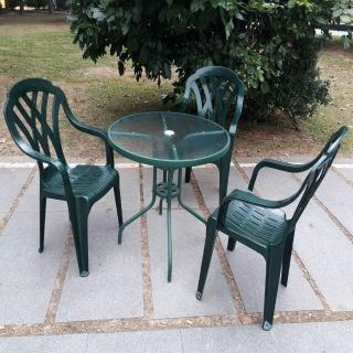 【Brother 兄弟牌】80cm玻璃圓桌加綠色塑膠椅一桌四椅組(戶外休閒)  Brother 兄弟牌