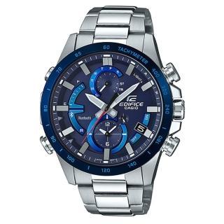 【CASIO 卡西歐】EDIFICE 夜行騎士計速藍牙太陽能不鏽鋼錶-藍(EQB-900DB-2A)  CASIO 卡西歐