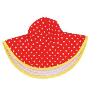 【美國 RuffleButts】嬰幼兒雙面配戴遮陽帽_橘黃白圓點(RBVS010)  美國 RuffleButts
