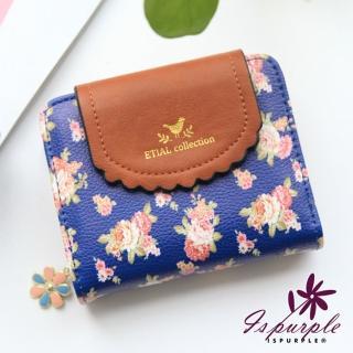 【iSPurple】薔薇花園*日系清新皮革短夾/藍  iSPurple