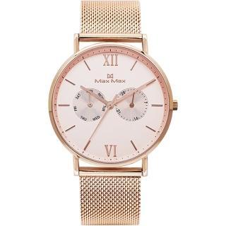 【Max Max】粉色玫瑰氣質型米藍帶腕錶-玫瑰金(MAS7018-3)推薦折扣  Max Max