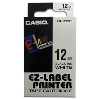 【CASIO 卡西歐】標籤機專用色帶-12mm白底黑字(XR-12WE1)  CASIO 卡西歐