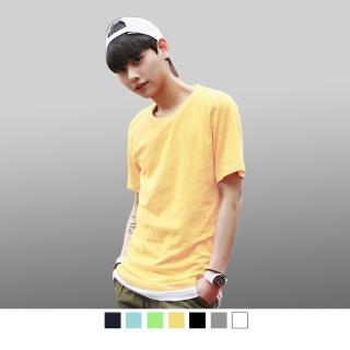 【男人幫】美國棉/領口加厚圓領短袖素面T恤(SL002)  男人幫