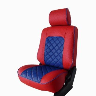 【葵花】量身訂做-汽車椅套-日式合成皮-格子配色-C款(雙前座-第一排)強力推薦  葵花
