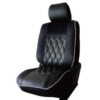 【葵花】量身訂做-汽車椅套-日式合成皮-竹編格紋-A款(雙前座-第一排)  葵花