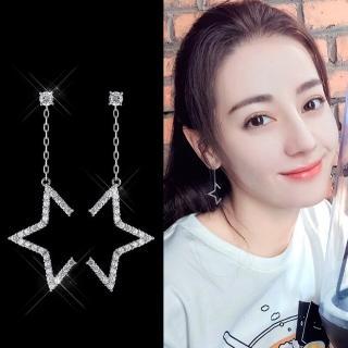 【梨花HaNA】韓國925銀半鑽星光閃耀舞台垂線耳環  梨花HaNA