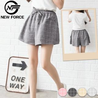 【NEW FORCE】清爽休閒寬腿格子短褲-共4色(修身 顯瘦 休閒 百搭)好評推薦  NEW FORCE