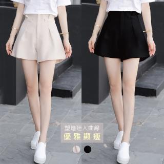 【J&H collection】夏款雪紡高腰A字版型顯瘦闊腿短褲 M-XL(杏色 / 黑色)  J&H collection
