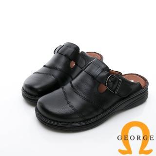 【GEORGE 喬治皮鞋】休憩系列 真皮寬楦涼鞋拖鞋-黑強力推薦  GEORGE 喬治皮鞋