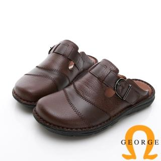 【GEORGE 喬治皮鞋】休憩系列 真皮寬楦涼鞋拖鞋-咖 推薦  GEORGE 喬治皮鞋