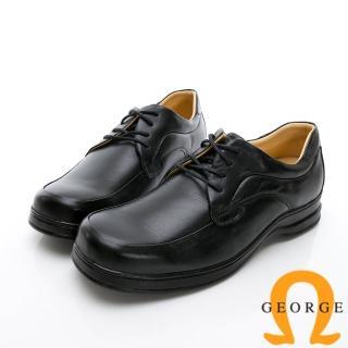 【GEORGE 喬治皮鞋】商務系列 素面綁帶紳士方頭皮鞋-黑 推薦  GEORGE 喬治皮鞋