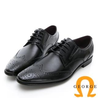 【GEORGE 喬治皮鞋】商務系列 雕花綁帶紳士皮鞋-黑真心推薦  GEORGE 喬治皮鞋