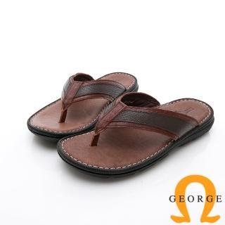 【GEORGE 喬治皮鞋】休憩系列 真皮手縫涼鞋拖鞋-咖  GEORGE 喬治皮鞋