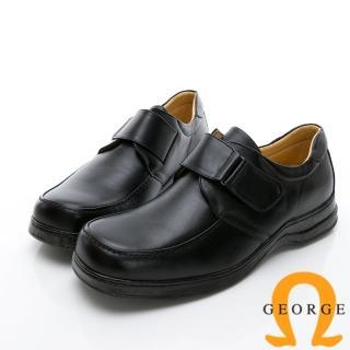【GEORGE 喬治皮鞋】商務系列 魔鬼氈素面紳士方頭皮鞋-黑推薦折扣  GEORGE 喬治皮鞋