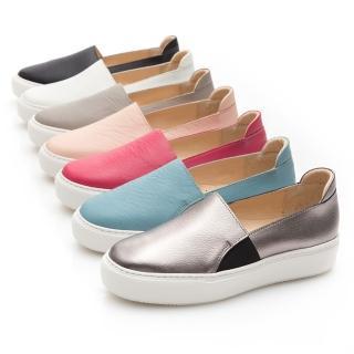 【GMS】MIT系列-百搭Q彈牛皮素面顯瘦厚底懶人鞋(粉紅色)  GMS