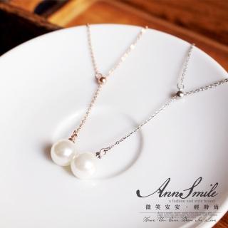 【微笑安安】氣質細鍊珍珠墜316L白鋼鎖骨短鍊  微笑安安