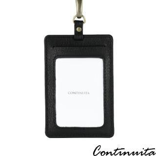 【Continuita 康緹尼】頭層牛皮超手感名片證件套夾(直式黑)  Continuita 康緹尼