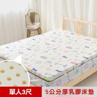 【米夢家居】夢想家園-冬夏兩用馬來西亞進口100%天然乳膠床墊-5公分厚(單人3尺-白日夢)  米夢家居