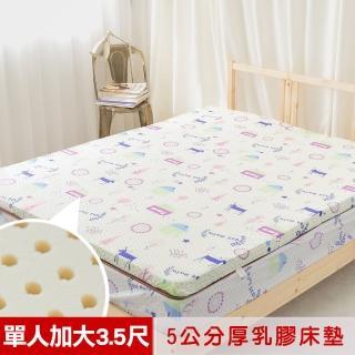 【米夢家居】夢想家園-冬夏兩用馬來西亞進口100%天然乳膠床墊-5公分厚(單人加大3.5尺-白日夢)好評推薦  米夢家居