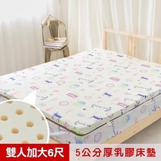 【米夢家居】夢想家園-冬夏兩用馬來西亞進口100%天然乳膠床墊-5公分厚(雙人加大6尺-白日夢) 推薦  米夢家居