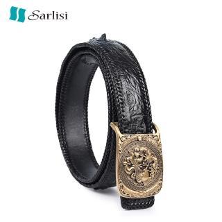 【Sarlisi】泰國臻品真皮鱷魚皮皮帶腰帶(鱷魚皮皮帶龍鳳呈祥扣)真心推薦  Sarlisi