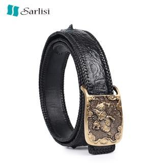 【Sarlisi】泰國臻品真皮鱷魚皮皮帶腰帶(鱷魚皮皮帶貔貅扣) 推薦  Sarlisi
