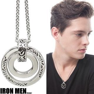 【Iron Men】雙圈情緣古典紋飾˙珠寶白鋼項鍊  Iron Men