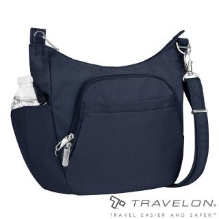【Travelon】簡單經典素面風格RFID防盜防割鋼網側背包(TL-42757-14深藍/出國旅遊休閒輕便包款)好評推薦  Travelon