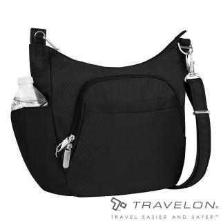 【Travelon】簡單經典素面風格RFID防盜防割鋼網側背包(TL-42757-14黑/出國旅遊休閒輕便包款)  Travelon