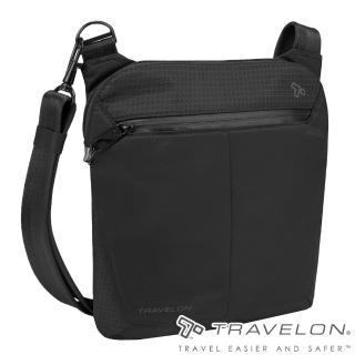 【Travelon】抗水輕量防盜RFID防割鋼網ACTIVE小斜背包(TL-43126-18黑/都會休閒旅行輕便包款)  Travelon