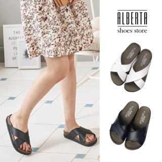 【Alberta】拖鞋-MIT台灣製簡約中性百搭跟高3.5cm厚底交叉涼拖鞋推薦折扣  Alberta