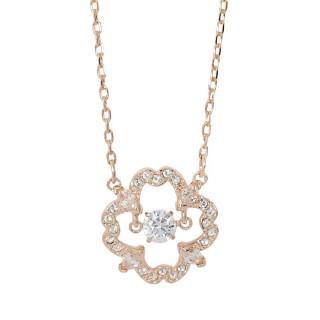 【SWAROVSKI 施華洛世奇】鏤空花形浮動亮鑽玫瑰金項鍊(5408437)好評推薦  SWAROVSKI 施華洛世奇
