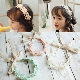 【梨花HaNA】韓系兒童髮飾甜美花朵蕾絲飄帶髮箍花環真心推薦  梨花HaNA
