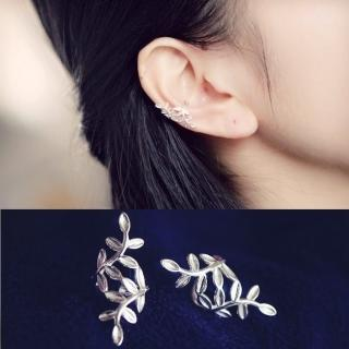 【梨花HaNA】韓國925銀奢華銀葉環繞U形耳骨夾耳環  梨花HaNA
