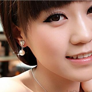 【梨花HaNA】韓國無耳洞古典圍繞上下珍珠垂綴鋯石耳環(耳夾)好評推薦  梨花HaNA