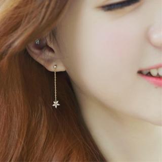 【梨花HaNA】韓國925銀針上下鋯石花瓣長耳線耳環  梨花HaNA