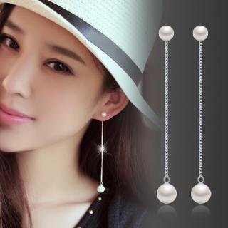 【梨花HaNA】韓國925銀美學演化雙珍珠流線垂墜耳環  梨花HaNA