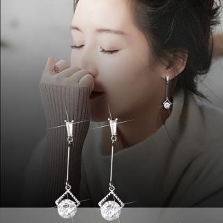 【梨花HaNA】韓國925銀針璀璨靈感內鑲單鑽垂墜耳環  梨花HaNA