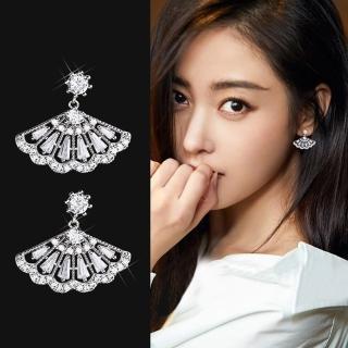 【梨花HaNA】韓國925銀針古典貴族滿鑽扇型耳環強力推薦  梨花HaNA