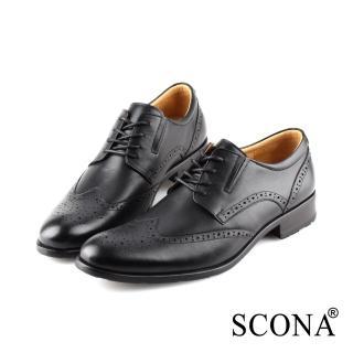 【SCONA 蘇格南】全真皮 都會雕花免拆綁帶紳士鞋(黑色 0859-1)  SCONA 蘇格南