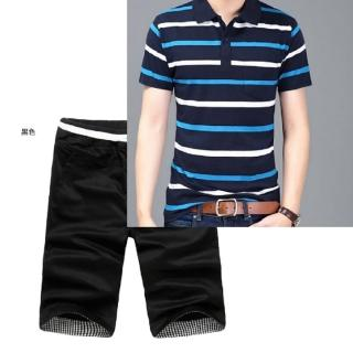 【NBL】T0603韓版橫條POLO衫短褲套裝(運動休閒短袖POLO衫短褲套裝)  NBL