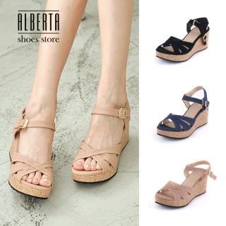 【Alberta】涼鞋-MIT台灣製素色純色交叉鞋面跟高7.5cm楔型涼拖鞋好評推薦  Alberta