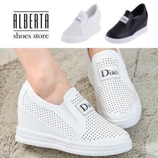 【Alberta】懶人鞋-英文印花水鑽透氣孔洞內增高4cm休閒鞋懶人鞋  Alberta