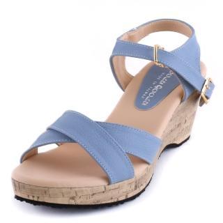 【Alberta】涼鞋-MIT台灣製夏日休閒風交叉鞋面跟高8.5cm楔型涼拖鞋  Alberta