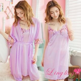 【lingling】PA3688全尺碼-V領繡花細肩睡裙+繡花網紗罩衫睡袍二件式睡衣組(迷人淺紫)  lingling